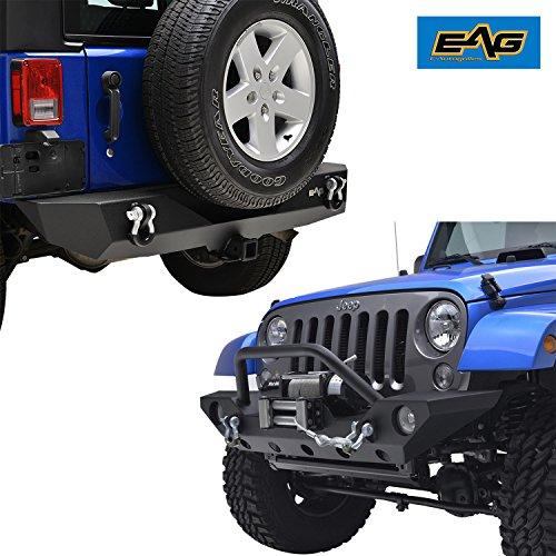 EAG 07-18 Jeep JK Wrangler Front Bumper w/OE Fog Light housing and Rear Bumper w/2