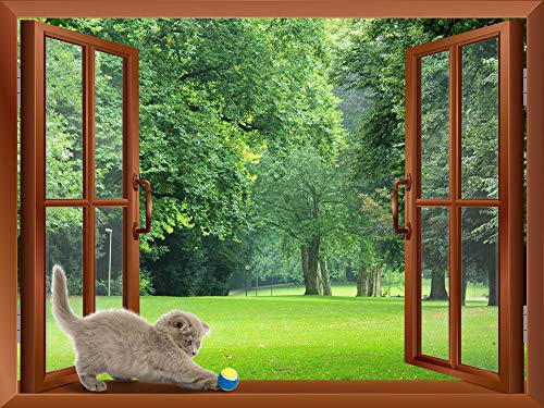 A Cat Playing with a Tennis Ball on the Windowsill Removable Wall Sticker Wall Mural