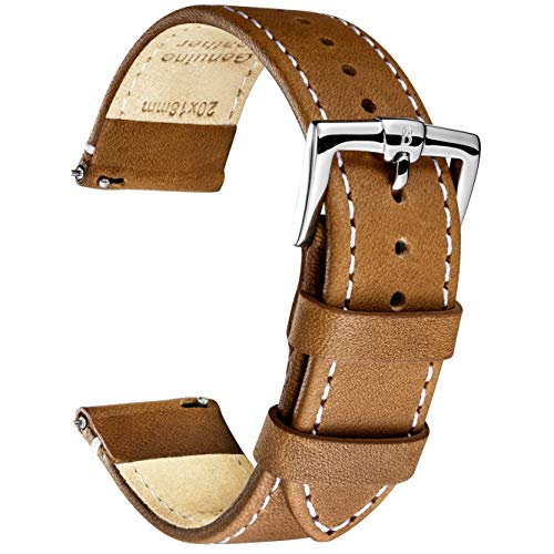 - B&E Quick Release Watch Bands Strap Top Smooth Genuine Leather for Men & Women - Lite Vintage Style Wristbands for Traditional & Smart Watch - 16mm 18mm 20mm 22mm 24mm Width Available - LTBNWT18