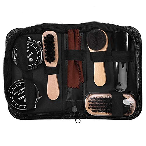 Estink Shoe Polish Kit, 8 Pcs Boot Polishing Cleaning Kit with Black & Neutral Shoe Polishes for Professional Shoe Caring