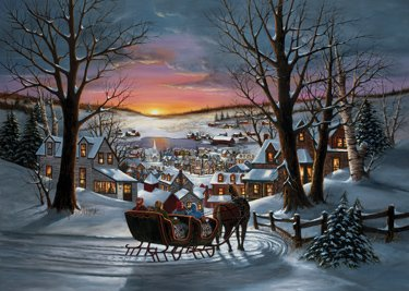 Sleigh Ride Christmas Cards - Box of 15 Cards & 16 Foil Lined ...