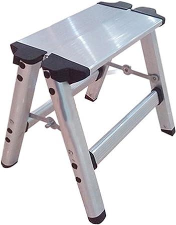 WUFENG Taburete De Escalera Mini Escalera De 2 Escalones Aleación De Aluminio Espesar Taburete para Pies Uso Dual Escalera (Color : La Plata, Tamaño : 34x27x30cm): Amazon.es: Hogar