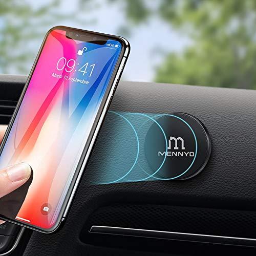 Calamite per cellulare auto, Set di 2 Supporto telefono auto con Placche metallo incollato al cruscotto | Wall - MENNYO Supporti cellulari auto compatibile con iPhone Samsung Galaxy / Note Huawei ecc.