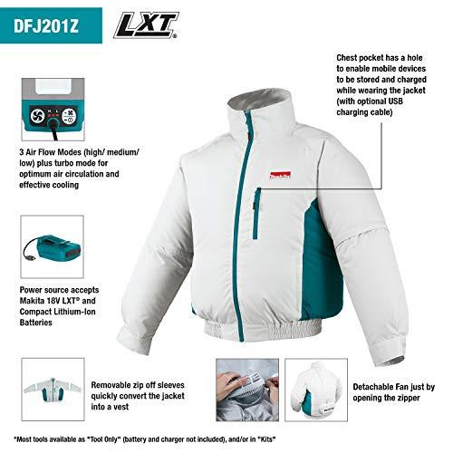 Makita DFJ201ZL 18V LXT Lithium-Ion Cordless Fan Jacket, Large