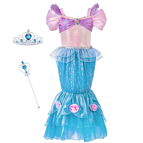 [Mermaid Costume Princess Ariel Generic Dress with Crown and Magic Wand for Little Girls Party Fangle (Size 4)] (Princess Ariel Pink Dress Costume)