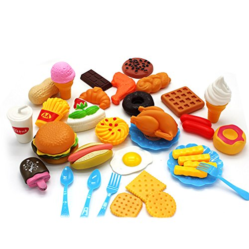 MeterMall Present Chilid Plastic Fast Food Playset Mini Hamburg French Fries Hot Dog Ice Cream Cola Food Toy for Children Pretend Play Gift for Kids 34 Without a Basket -