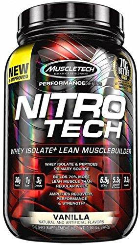 MuscleTech NitroTech Protein Powder, 100% Whey Protein with Whey Isolate, Vanilla, 2 Pound - Bsn True Mass Strawberry