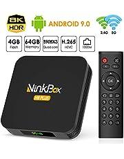 Android 9.0 TV Box 4GB RAM 64GB ROM, NinkBox N8 Plus TV Box Android amlogic S905X3 Quad-Core 64bit Cortex-A55 Dual-WiFi 2.4GHz/5GHz, 3D Ultra HD 8K H.265 USB 3.0 BT 4.0 Smart TV Box