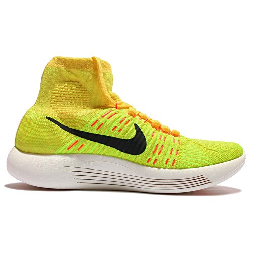 Nike Womens Lunarepic Flyknit Scarpa Da Corsa High-top Yellow Strike / Black-volt-hyper Arancione