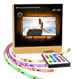 """LED Light Strips,Maylit(tm) RGB LED Strip USB TV Light Strip Mood Backlighting For 40 To 60 IN HDTV with Remote.LED Strip Light(40"""" to 60"""" Three Side)"""