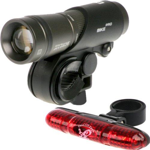 MacTronic LED Fahrradbeleuchtung - BPM Bike Scream Pro bis zu 245 LUMEN - Hochleistungs Frontscheinwerfer Lampe inkl. LED Fahrrad Rücklicht, Halterungen, Zubehör und 4er Pack AAA Ersatzbatterien in hochwertiger Kraftmax Akkubox