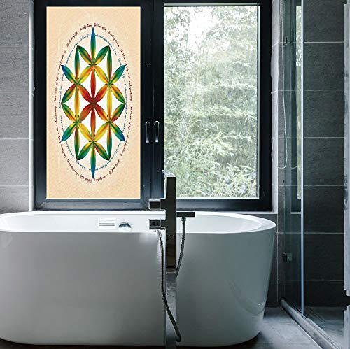 YOLIYANA Decorative Privacy Window Film,Sacred Geometrty Decor,for Fome Bedroom Kitchen Office,Symbol of Fundamental Aspect of Space and Time,24''x48''