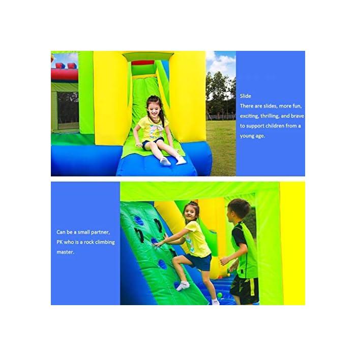 5143n70uygL ● 【Múltiples áreas de actividad】 : Este castillo inflable tiene forma de caricatura, un aro de baloncesto, un tobogán, etc., que no solo permite que los niños disfruten de una variedad de diversión, sino que también ayuda al desarrollo de la altura del niño y también puede resolver el problema.Problemas de los padres. ● 【Material de calidad】 : El castillo inflable está hecho de material oxford, que es seguro y ecológico.El diseño de doble costura hace que este castillo inflable sea más fuerte. ● 【Diseño de seguridad】 : La altura del trampolín está diseñada para garantizar la seguridad de los niños mientras juegan y para permitir la máxima ventilación.Más importante aún, a través de los juguetes, los padres pueden prestar atención a la dinámica del niño en tiempo real para evitar accidentes.