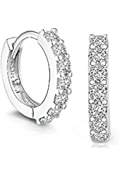 Creazy® 925 Sterling Silver Rhinestones Hoop Diamond Stud Earrings for Women