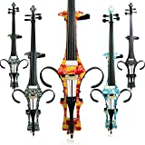 Leeche Handmade Professional Solid Wood Electric Cello 4/4 Full Size Silent Electric Cello-Rose