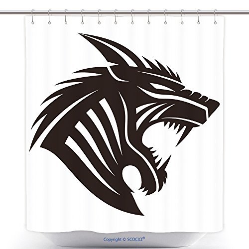 Unique Shower Curtains Vector Sign Werewolf 299934752 Polyester Bathroom Shower Curtain Set With Hooks