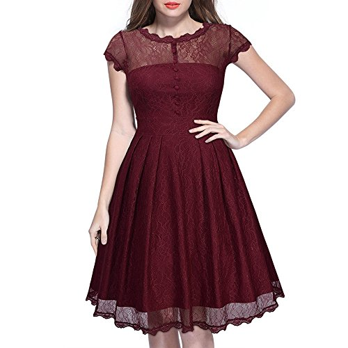 Lace Sexy Dress Evening line Sleeve Mini Party Red Floral Long Embroidery A Women LIYIZO 4XBxRB