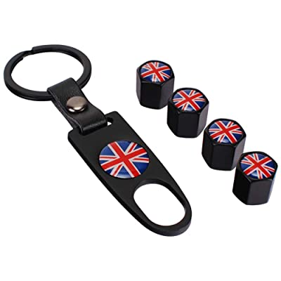 Flypc Mini Cooper Red Union Jack British Flag with 4pcs Tire Valve Stem Caps +Keychain Set Accessories Decal Parts Universal for Most Cars, Such as BMW Mini Cooper: Automotive