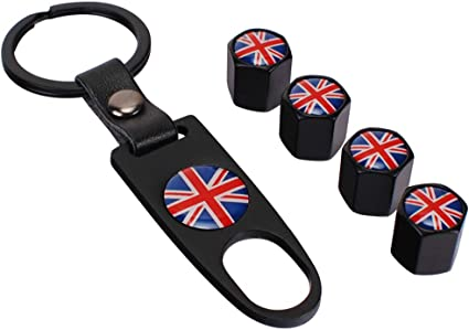 Universal Car Wheel Tire Valve Air Cap UK Great Britain Flag Stainless Steel