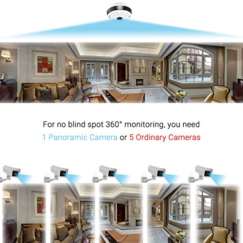 360 Degree Panoramic Camera WiFi Indoor IP Camera with Clear Night Vision 2-way Audio Motion Detection 960P Home Security Camera System for Baby Kids with iOS/Android APP for Remote Monitoring by TimeOwner (Image #1)