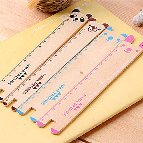 BALUZ Wooden Ruler,6 Inches/15cm Cute Novelty Animal Shape Drawing Ruler for Office School Supplies 10PCS by BALUZ (Image #2)