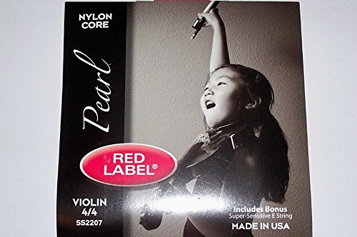 Super-Sensitive 2207 4/4 Size Red Label Pearl Violin String Set with Bonus E String