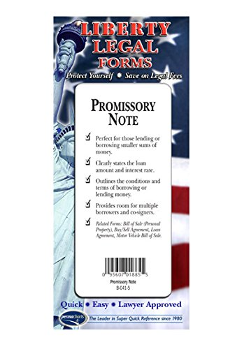 Promissory Note - USA - Do-it-yourself Legal Forms by Permacharts