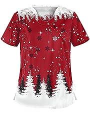 Msaikric Christmas Scrubs Top Women's Pattern Uniforme Femme Top - Print V Neck Nurse Working Uniform Tunic with Pockets