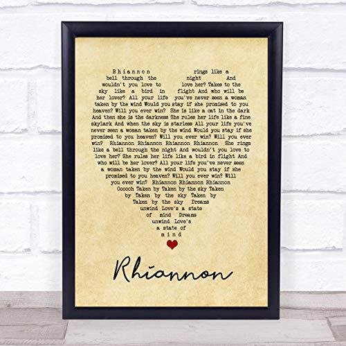 Rhiannon Vintage Heart Quote Song Lyric Print