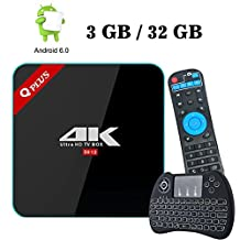 [Free Mini H9 Backlit Wireless Keyboard] - Q Plus 3GB RAM/ 32GB ROM Android 6.0 TV Box with Amlogic S912 Octa-Core 4K Ultra HD, Support 2.4GHz / 5GHz Dual Wifi Bluetooth HDMI - Heckia