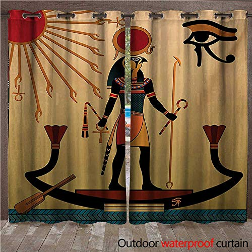 WilliamsDecor Egyptian Outdoor Curtain for Patio Ancient Figure Sun Old Egyptian Religion Grace Icons Tradition Illustration Print W84 x L84(214cm x 214cm) - Inner Grace Skin Care At