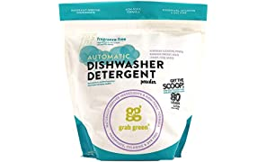 Grab Green Natural Automatic Dishwashing Detergent Powder, Fragrance Free, Organic Enzymed-Powdered, 80 Loads