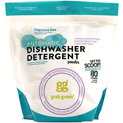 (Grab Green Natural Automatic Dishwashing Detergent Powder, Fragrance Free, 80 Loads)