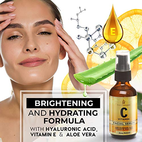5143ohnheLL - Vitamin C Serum for Face (2oz) with Hyaluronic Acid and Vitamin E Natural Skin Care Facial Treatment Neck & Chest Anti-Aging Serum Fights Pigmentation Fine Lines and Wrinkles