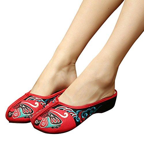 Hestio Beijing Chaussures Brodées Plaque De Pente Déduction Chaussures En Toile Femme Square S Pantoufles À Fond Plat Rouge