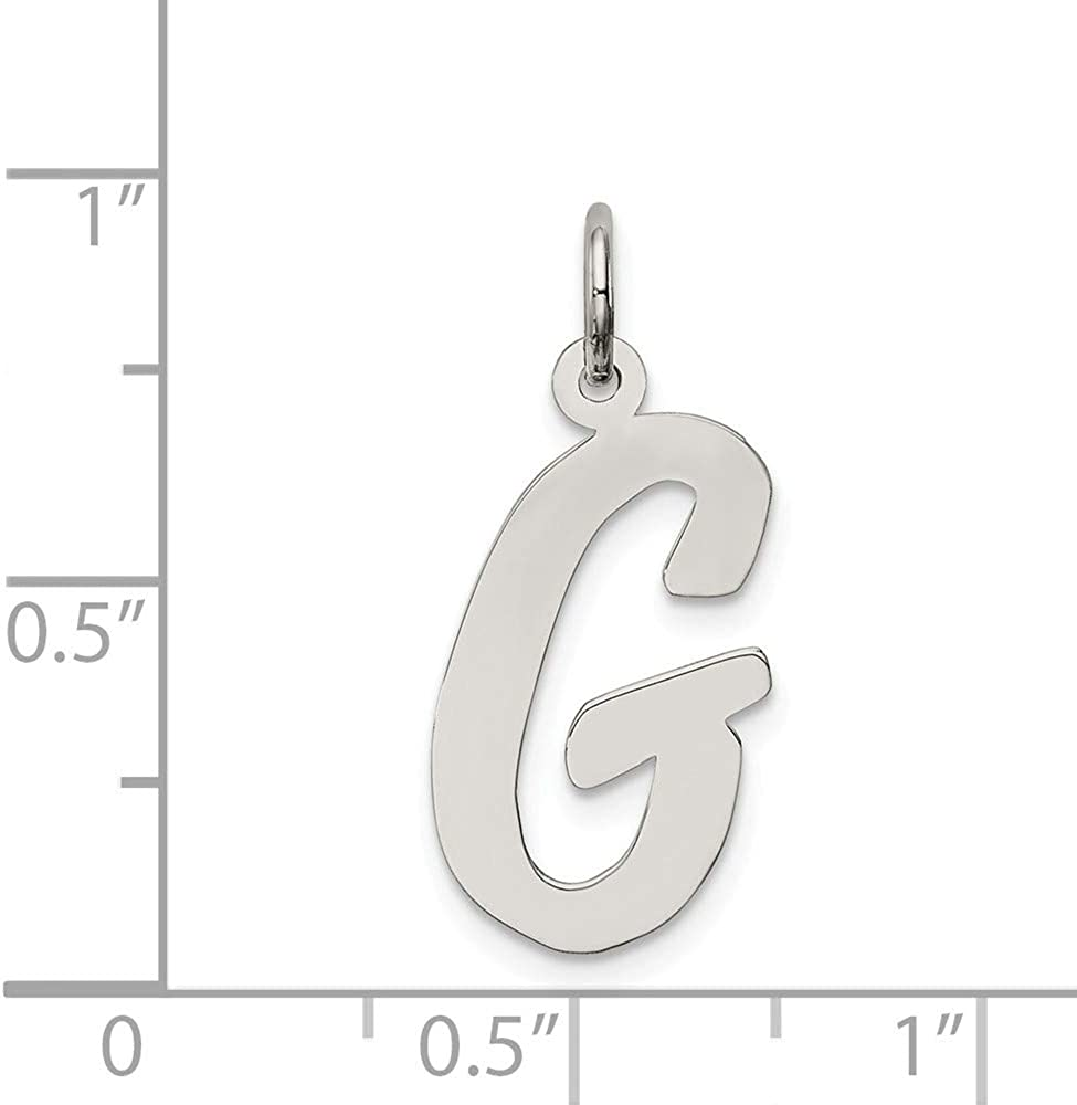 925 Sterling Silver Solid Polished Large Script Intial G Charm