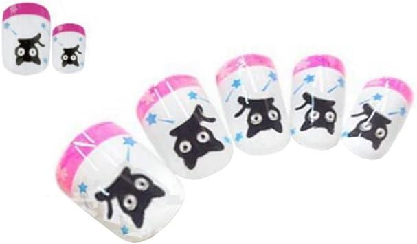 Tokkids 24 pcs uñas postizas para niñas, pre-pegado (black cat ...