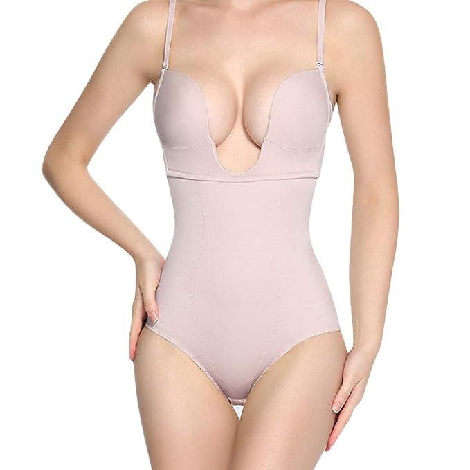 9197c6b6e4 ZMZ U Plunge Bodysuit Strapless Bra Backless Thong Bottom Bridal Shapewear  for Women Beige