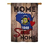 Cheap State Wisconsin Home Sweet Home – Americana States Decoration – 28″ x 40″ Impressions House Flag by Ornament Collection – US made
