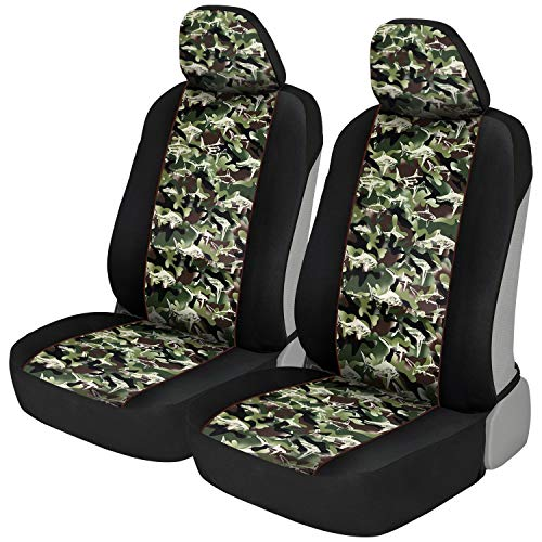 BDK FreshProtect Camo Shark Sideless Fun Graphic All Protective Front Seat Covers for Auto Cars -Sedan Truck SUV Minivan - Non Fade - Universal 2 Piece