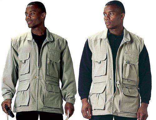 Khaki Convertible Safari Outback Trailblazer Jacket and Vest 7590 Size 2XL by Galaxy Army Navy