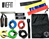 Resistance Band Set Workout Bands - Professional Quality Set of 15 Pieces - Carrying Bag, Door Anchor, Handles, Ankle Strap for Legs Workout, Resistance Bands, Loop Bands. Exercise Chart Included.