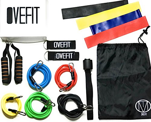Resistance Band Set Workout Bands - Professional Quality Set of 15 Pieces - Carrying Bag, Door Anchor, Handles, Ankle Strap for Legs Workout, Resistance Bands, Loop Bands. Exercise Chart Included. by Ovefit LLC