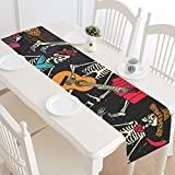 Fantasy Design Skeleton Dance Cotton Linen Cloth Long Table Runner for Office Kitchen Dining Wedding Party Home Decor 14 X 72 Inches
