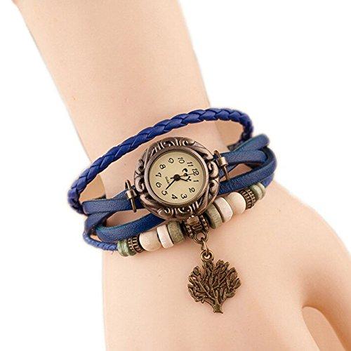 Around Bangle Watch Wrap Leather - Hosaire Watch Bracelet Vintage Multilayer Weave Wrap Around Leather Chain Bracelet Quartz Wrist Watch with Tree Pendant for Women Men Blue