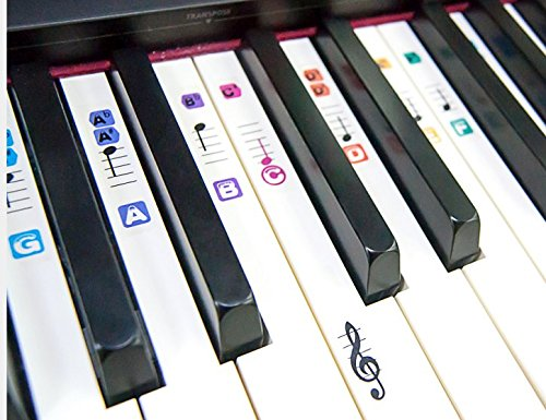 TimberRain Piano Stickers for 49 / 61 / 76 / 88 Key Keyboards, Removable and Double Layer Coating Color Keyboard Stickers for Kids and - Off How To Scratches Take
