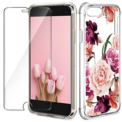 Pattern Screen - iPhone 8 Plus Case,iPhone 7 Plus case + Tempered Glass Screen Protector,Clear Floral Pattern Anti-Scratch Transparent (Hard PC + Soft Sinicone TPU Bumper) Cover, for iPhone 8 Plus / 7 Plus Cover