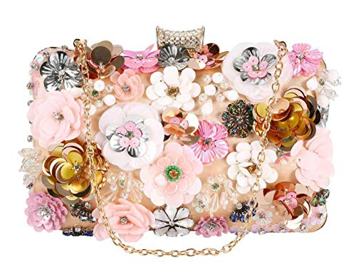 Selighting Women's Colorful Flower Evening Bags Formal Party Handbags Prom Wedding Clutch Purses (One Size, Champagne)