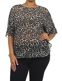 2LUV Women'sShort Sleeve Mix Print Blouse