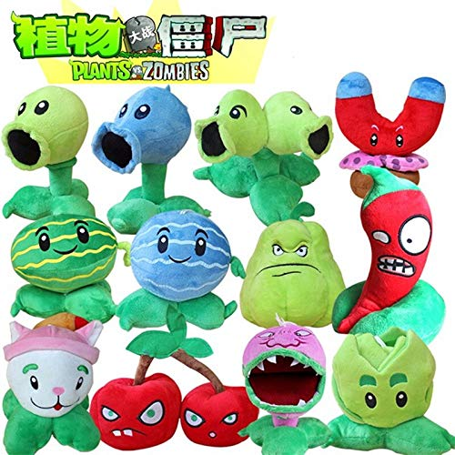 RAFGL 12Pcs/Lot 13-20Cm Plants Vs Zombies PVZ Plants Plush Toys Soft Stuffed Doll Brinque for Kids Cool Must Haves Gift Wrap Girls Favourite Characters Superhero Party Favors by RAFGL